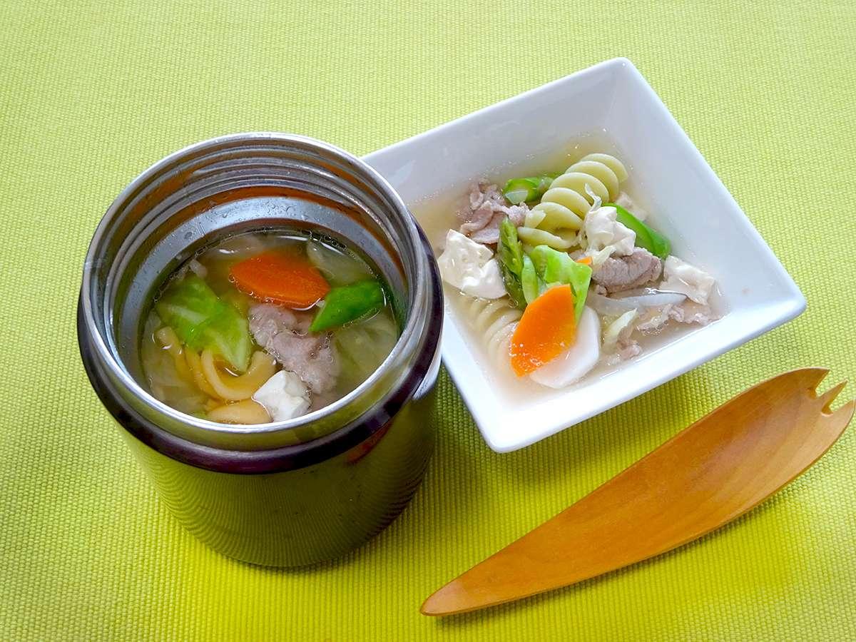 スープジャーで春野菜とマカロニの豚汁