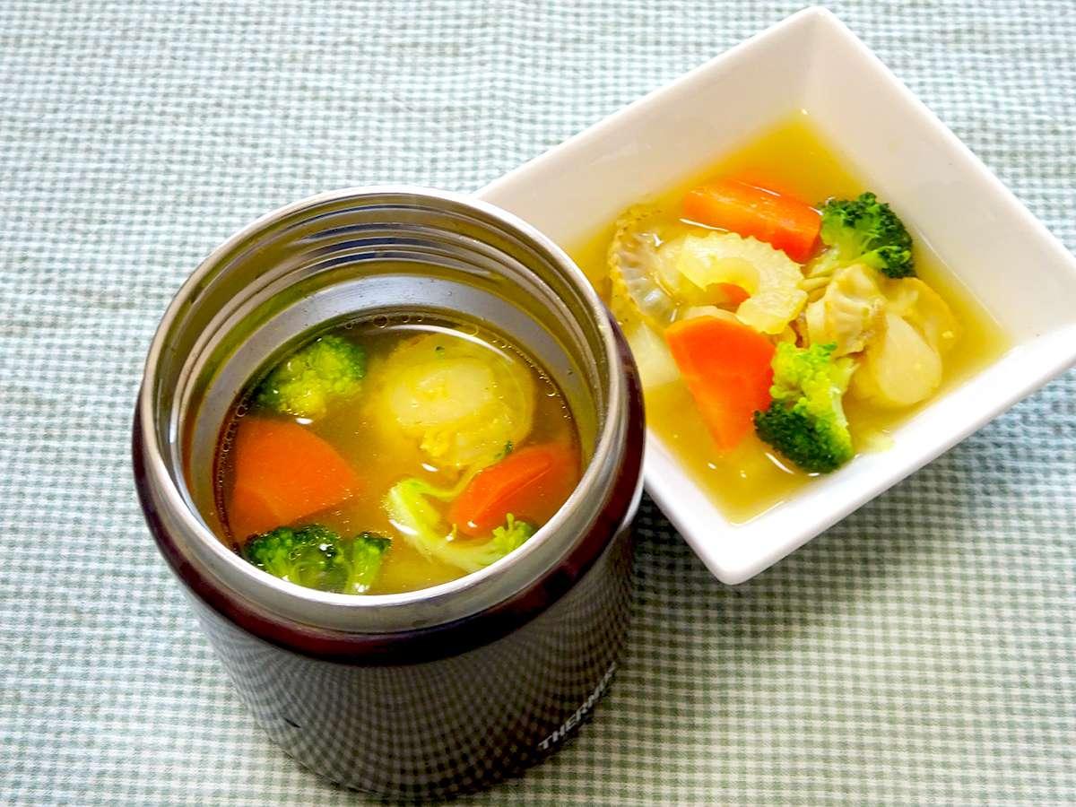 スープジャーで ほたてとかぶのカレーみそ汁
